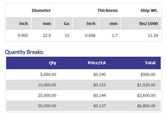 "0.900"" Custom Nickel Plated Brass Token Pricing"