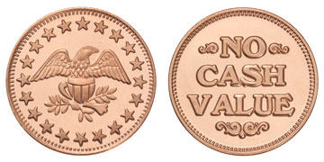 "Copper Plated Zinc 0.984"" Eagle Stars/NCV stock token"