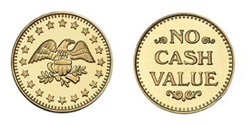 "Brass 1.125"" Eagle Stars/NCV stock token"
