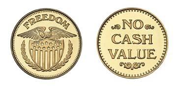"Brass 1.125"" Freedom Eagle/NCV stock token"