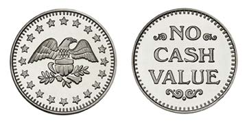 "Nickel Silver 0.900"" Eagle Stars/NCV stock token"