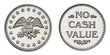 """Nickel Plated Brass 0.900"""" Eagle Stars/NCV stock token"""