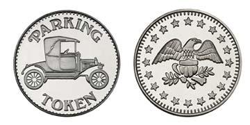 "Nickel Plated Brass 1.000"" Parking Token/Eagle Stars stock token"
