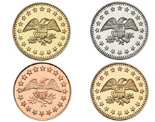 See our wide range of metals and sizes for tokens