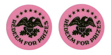 "Pink Plastic 1.630"" Redeem for Prizes/Eagle Stars stock token"