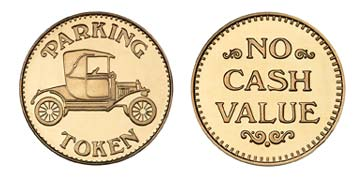 "Red Brass 0.984"" Parking Token/NCV stock token"