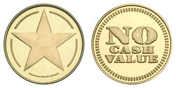 "Brass 0.984"" Star /No Cash Value stock token"