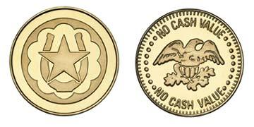 """Brass 0.984"""" Horseshoe Star/Eagle NCV stock token"""