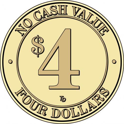 NCV No Cash Value $4 Token