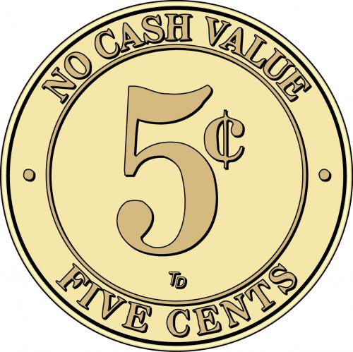 NCV No Cash Value Token five cents