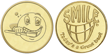 "Brass 0.984"" Smile Great Day/Brushing Smiley Face stock token"