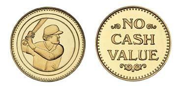 """Brass 1.073"""" Batter/NCV stock token"""