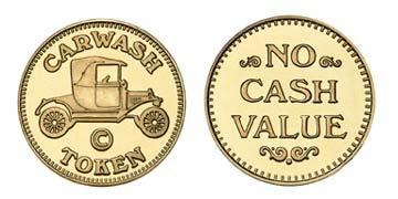 "Brass 1.125"" Carwash Token/NCV stock token"