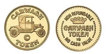 """Brass 0.900"""" Carwash Token/NR Crown stock token"""