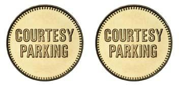 "Brass 1.000"" Courtesy Parking/Courtesy Parking stock token"