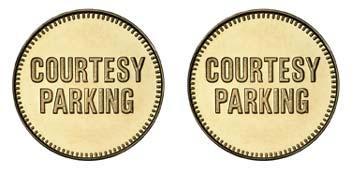 "Brass 1.000"" Courtesy Parking/Courtesy Parking stock token"