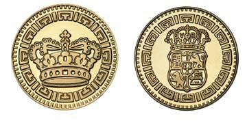 "Brass 1.125"" Crown/Crest stock token"