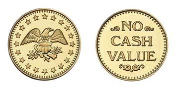 "Brass 1.125"" Eagle Stars/NCV stock token"