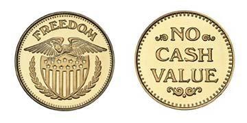 "Brass 0.900"" Freedom Eagle/NCV stock token"