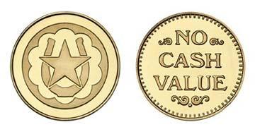 """Brass 1.000"""" Horseshoe Star/NCV stock token"""