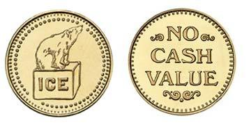 "Brass 0.984"" Ice/NCV stock token"