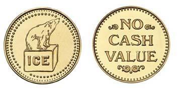 "Brass 0.984"" Ice/NCV stock token"