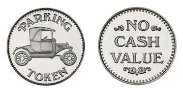 "Nickel Plated Brass 0.880"" Parking Token/NCV stock token"