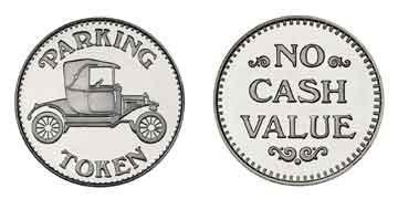 """Nickel Plated Brass 0.880"""" Parking Token/NCV stock token"""