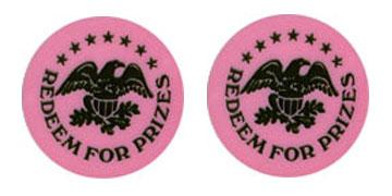 "Pink Plastic 1.630"" Redeem for Prizes/Eagle Stars stock token"
