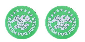 "Green Plastic 1.630"" Redeem for Prizes/Eagle Stars stock token"