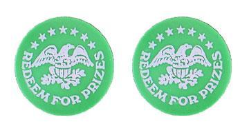 """Green Plastic 1.630"""" Redeem for Prizes/Eagle Stars stock token"""