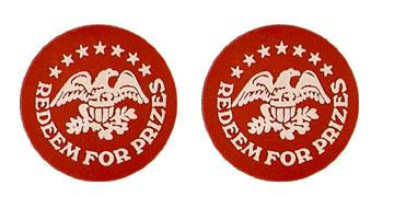 "Red Plastic 1.630"" Redeem for Prizes/Eagle Stars stock token"