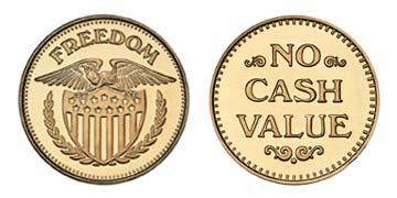 "Red Brass 0.984"" Freedom Eagle/NCV stock token"
