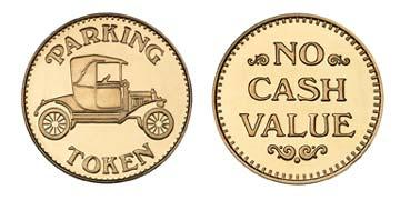 "Red Brass 0.984"" Parking Token/NCV stock token"