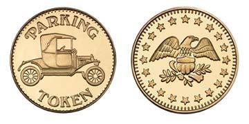 "Red Brass 0.984"" Parking Token/Eagle Stars stock token"