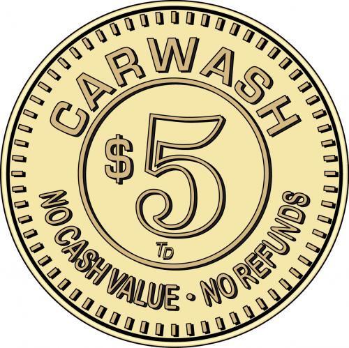 Car Wash Token No Cash Value $5