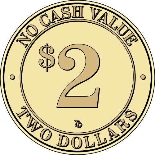 NCV No Cash Value $2 Token