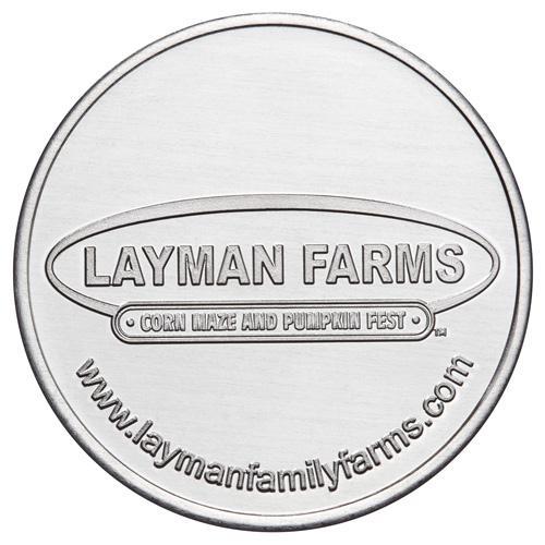Layman Farms custom aluminum token