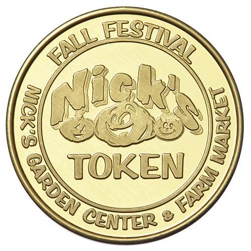Nick's Garden Center Custom Brass Token
