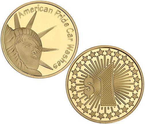American Pride Carwash custom tokens