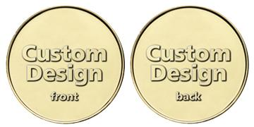 "Brass 1.125"" custom token"