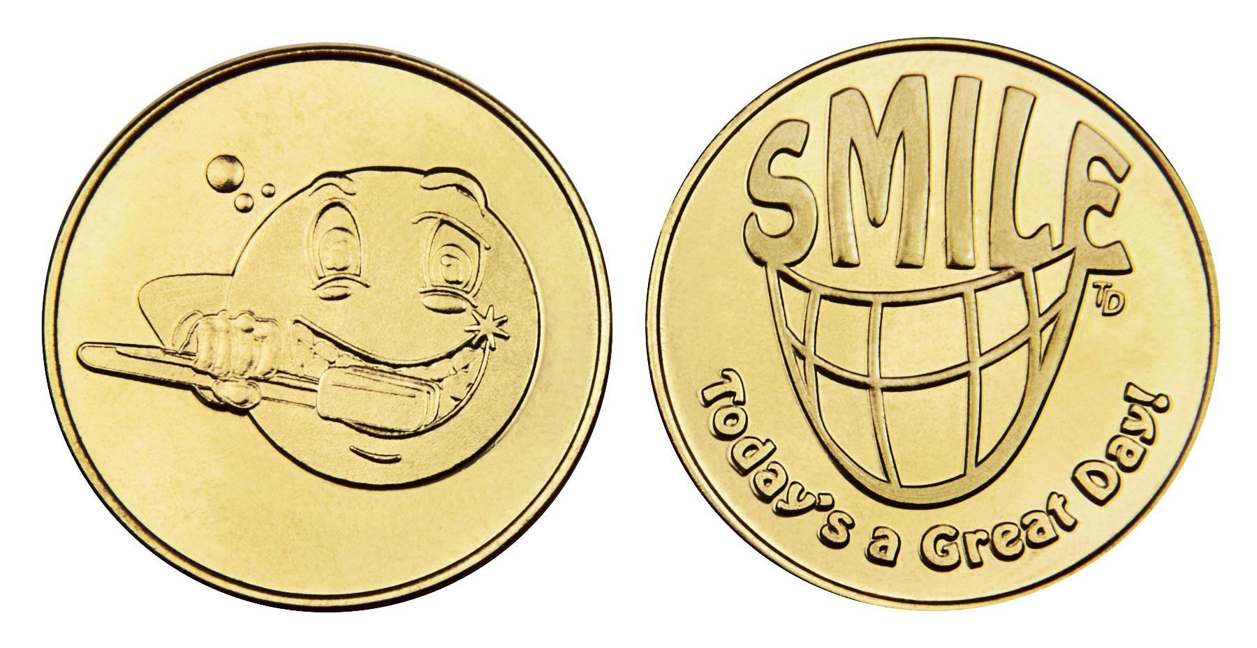 Brushing Emoji_Smile stock brass token
