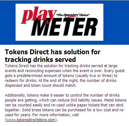 Drink tokens from TokensDirect