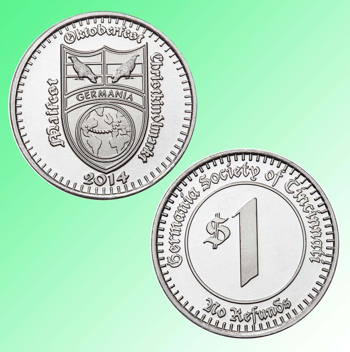Germania Oktoberfest custom aluminum tokens