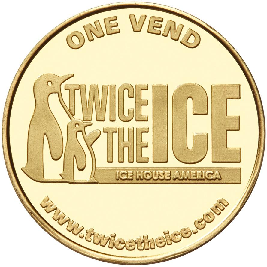 Ice House America custom brass token