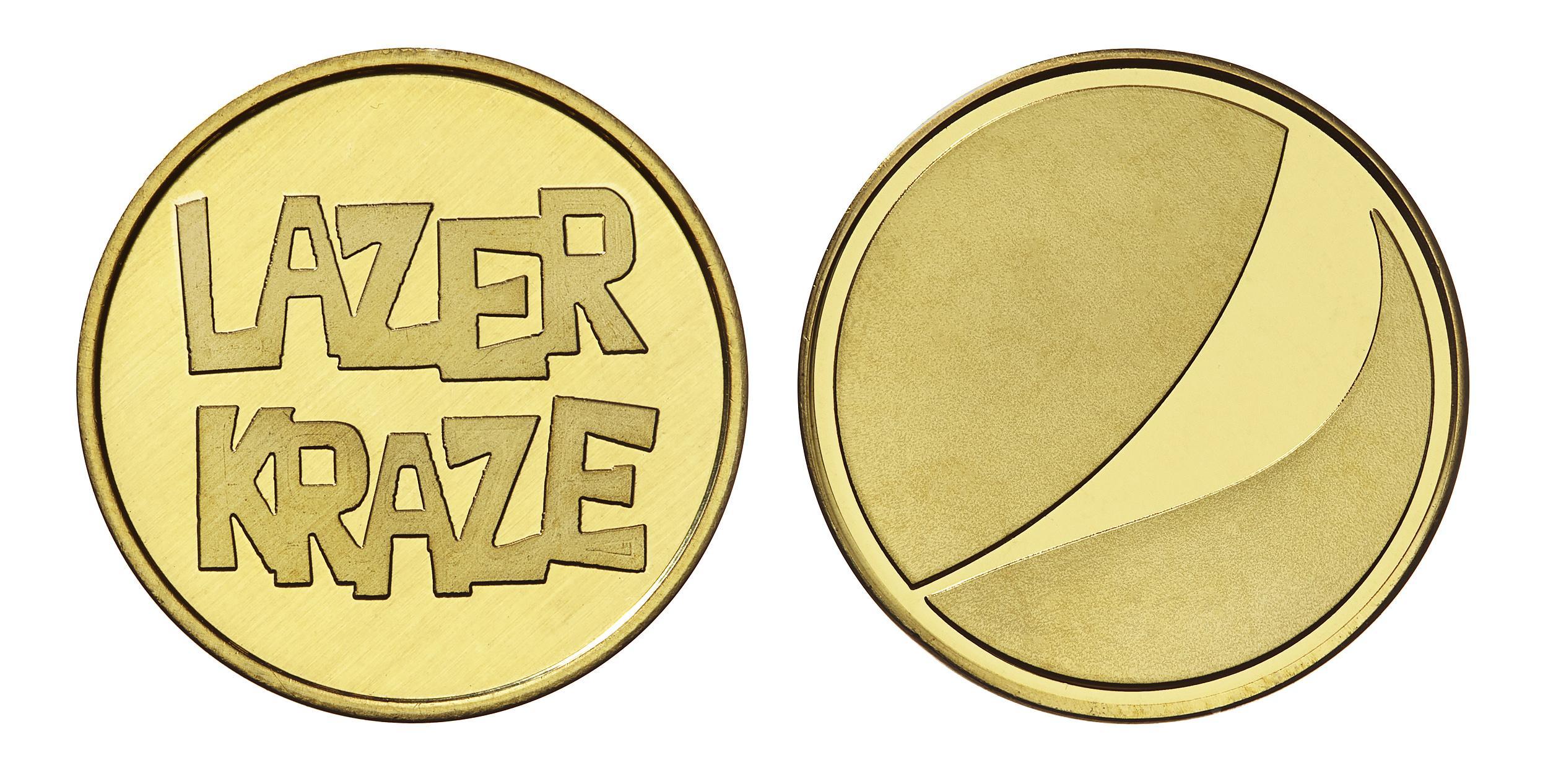 Lazer Kraze custom brass tokens