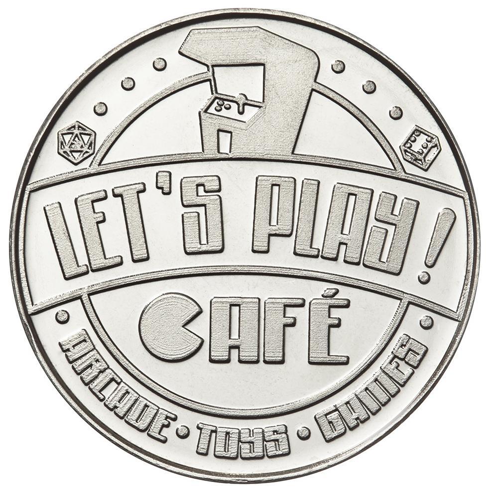 Let's Play Cafe rev custom nickel plated brass token
