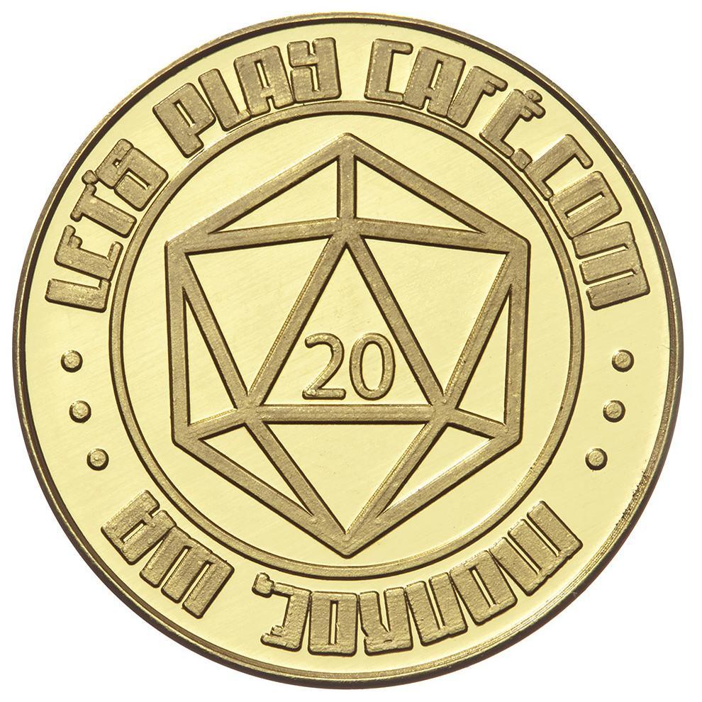 Let's Play Cafe obv custom brass token