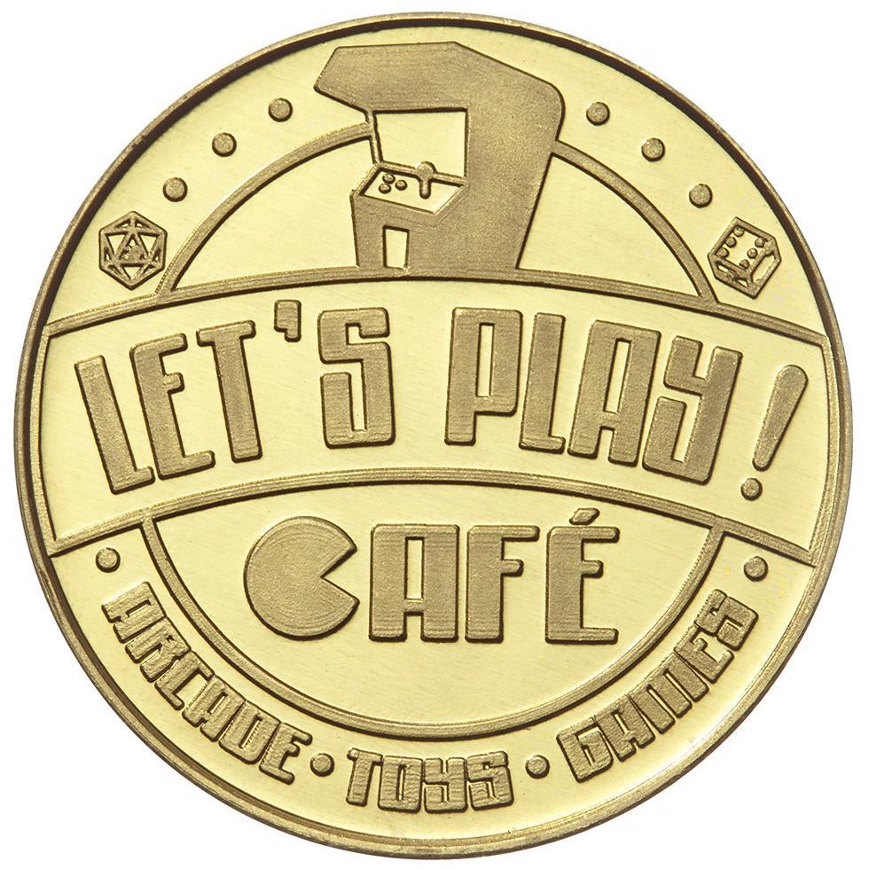 Let's Play Cafe rev custom brass token