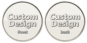 "Nickel Plated Brass 1.125"" custom token"
